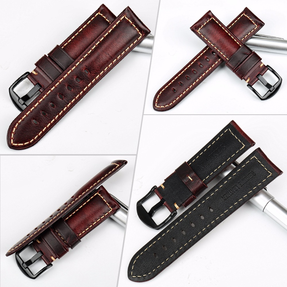 Image 2 - MAIKES Watch accessories fashion red watchband 20mm 22mm 24mm 26mm leather watch strap black buckle watch band for Paneraiwatch bandred watchbandwatchband 22mm -