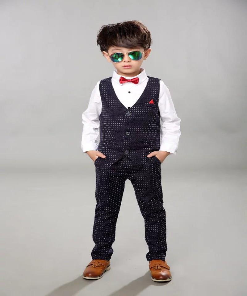 Boys Baby Urodziny Marka Kamizelka Formalne Garnitur Gentleman Dzieci - Ubrania dziecięce - Zdjęcie 2