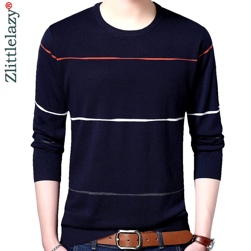 2019 Brand Social Cotton Thin Men's Pullover Sweaters Casual Crocheted Striped Knitted Sweater Men Masculino Jersey Clothes 5066