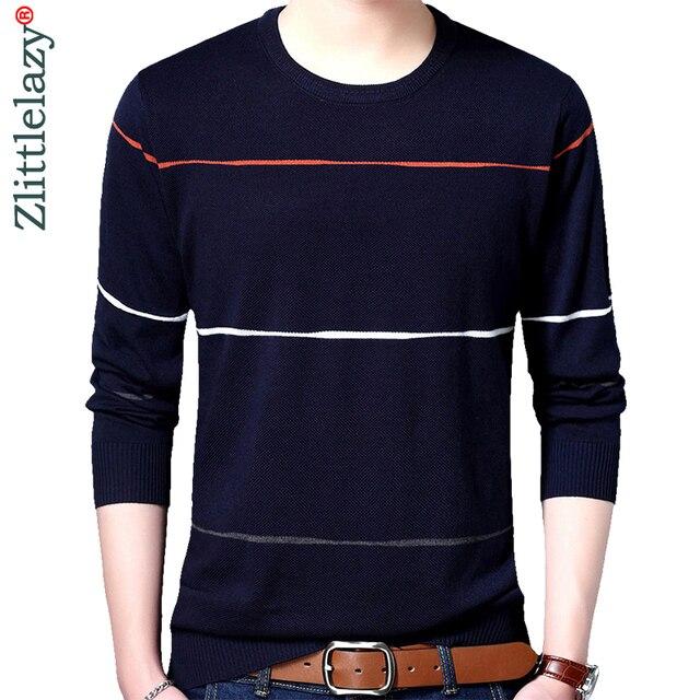 2019 marca dos homens finos de algodão sociais sweaters pulôver crocheted listrado camisola de malha homens casuais masculino camisa roupas 5066