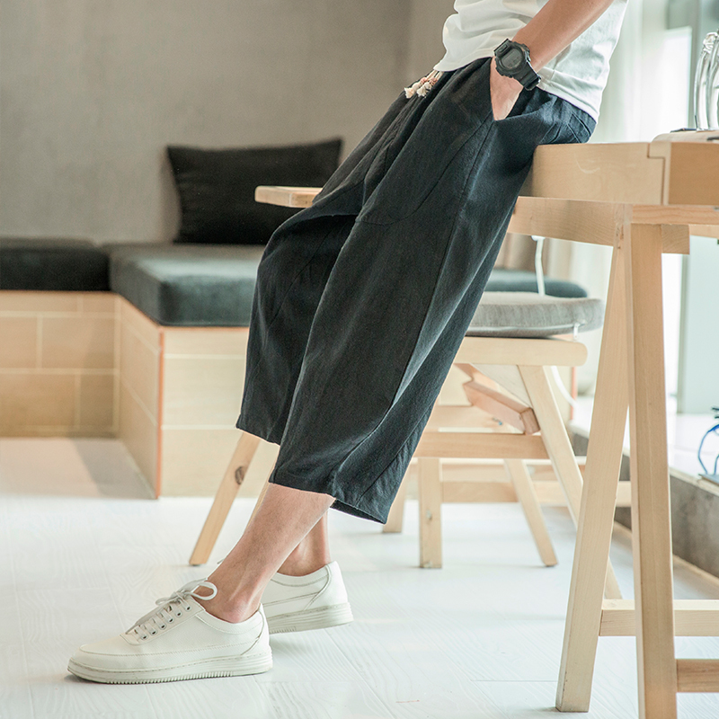 f1ac10f3f62c Summer New Chinese Style Loose Casual Men Cropped Pants Personality Fashion Pop  Youth Simple Classic Urban Campus Spirit-in Cross Pants from Men s Clothing  ...