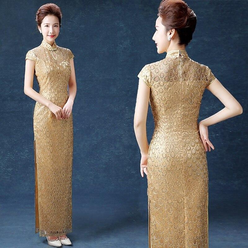 dame bleu longtemps entièrement étincelant élégant cheongsam - Vêtements nationaux - Photo 6