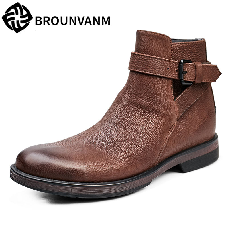 Martin Chelsea men's boots new autumn winter British retro men shoes cowhide cashmere breathable men casual Leisure boots autumn and winter with warm cashmere leather boots british retro men shoes martin head layer cowhide shoes boots breathable