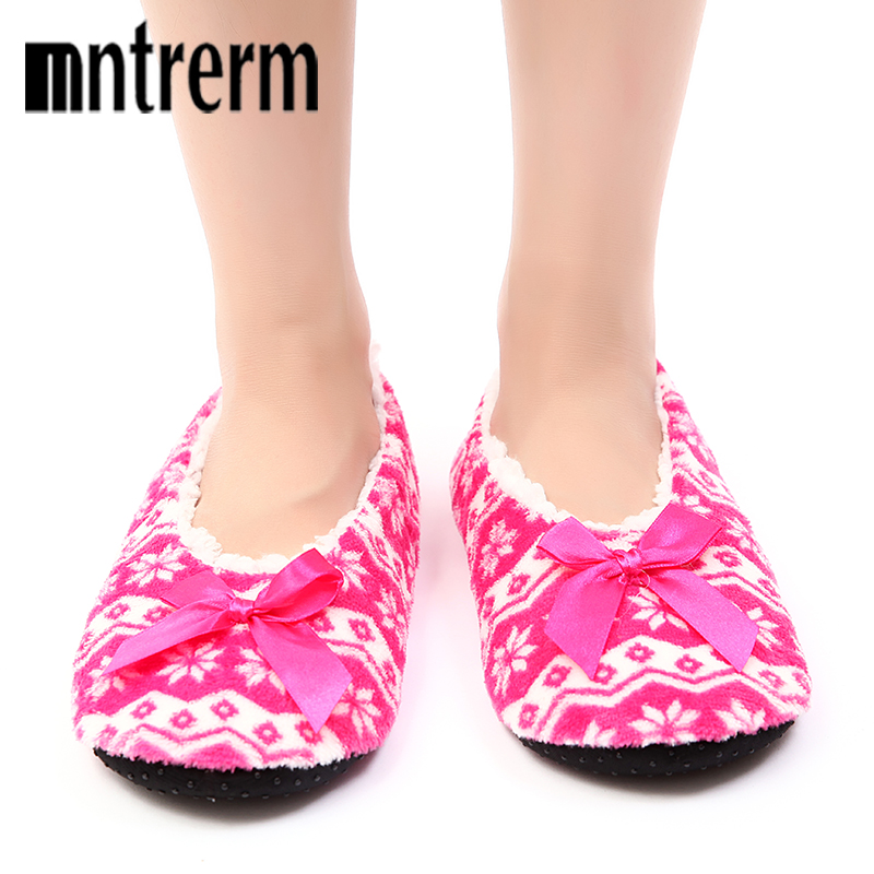 Mntrerm Winter Women Snowflake Bottom Soft Home Slippers Warm Cotton Shoes Women Indoor Slippers Slip-On Shoes For Bedroom House