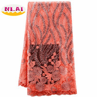 5yards/lot 2017 High quality Nigerian French Lace African Lace Fabric For Party Dress Peach Africa lace fabric XY-A24
