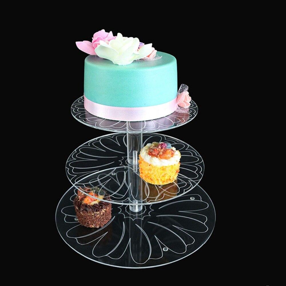 Ny runde akryl 3/4 tier cupcake kake stativ kakeholder montere og - Kjøkken, spisestue og bar