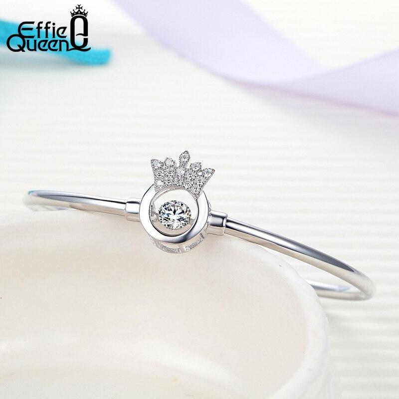 Effie Queen S925 Sterling Silver Bracelet Cute Crown Flashing Zircon Bangle Bracelets Wholesale Female Fashion Jewelry BB13