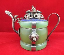 Chinese old Tibetan silver Dragon Lion Green jade Cloisonne teapot Monkey cover