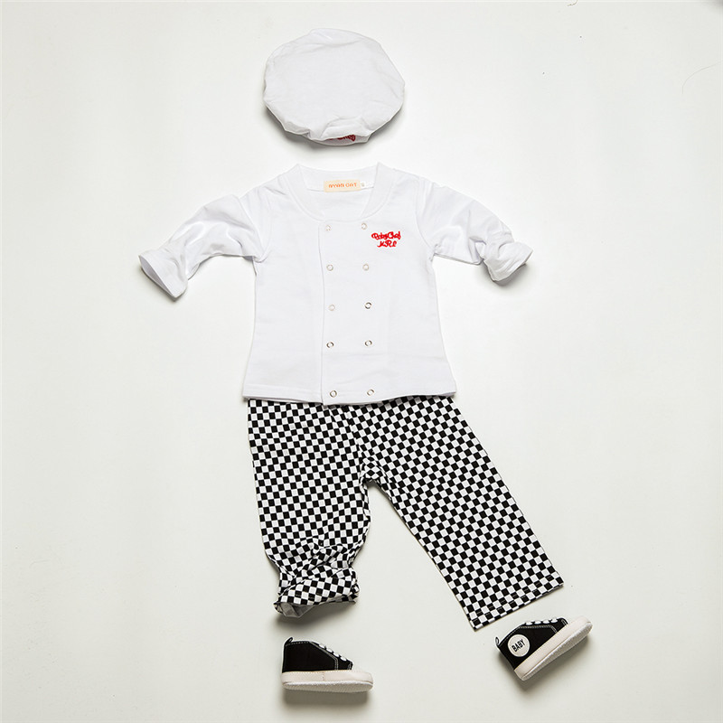 Baby boy clothing set newborn clothes cook style full sleeve T-shirt + plaid pants + Hat spring autumn baby costume chef uniform new hot sale 2016 korean style boy autumn and spring baby boy short sleeve t shirt children fashion tees t shirt ages