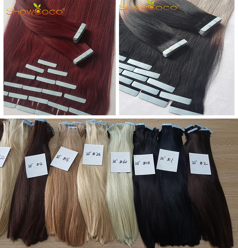 HTB1ckcNShTpK1RjSZR0q6zEwXXaq - ShowCoco Tape in Human Hair Extensions Natural Real Hair 20/40pcs Machine-made Remy shine Brown to Blonde tape ins