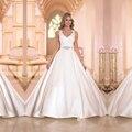 ML16 Charming Custom Princess Wedding Dress Lace Crystal Beading Floor Length  Simple Bridal  Gown 2016