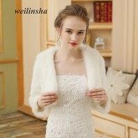 Weilinsha Elegant Cheap Warm Wedding Wraps Ivory Color Faux Fur Women Bolero Jacket Bridal Coat
