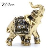 KiWarm Vintage Feng Shui Elegant Elephant Trunk Statue Lucky Wealth Figurine Gift and Home Decoration