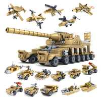 16Pcs/lot 544Pcs Military Vehicle Super Tank Army Soldiers Building Blocks Sets LegoINGLs Bricks Educational Toys for Children