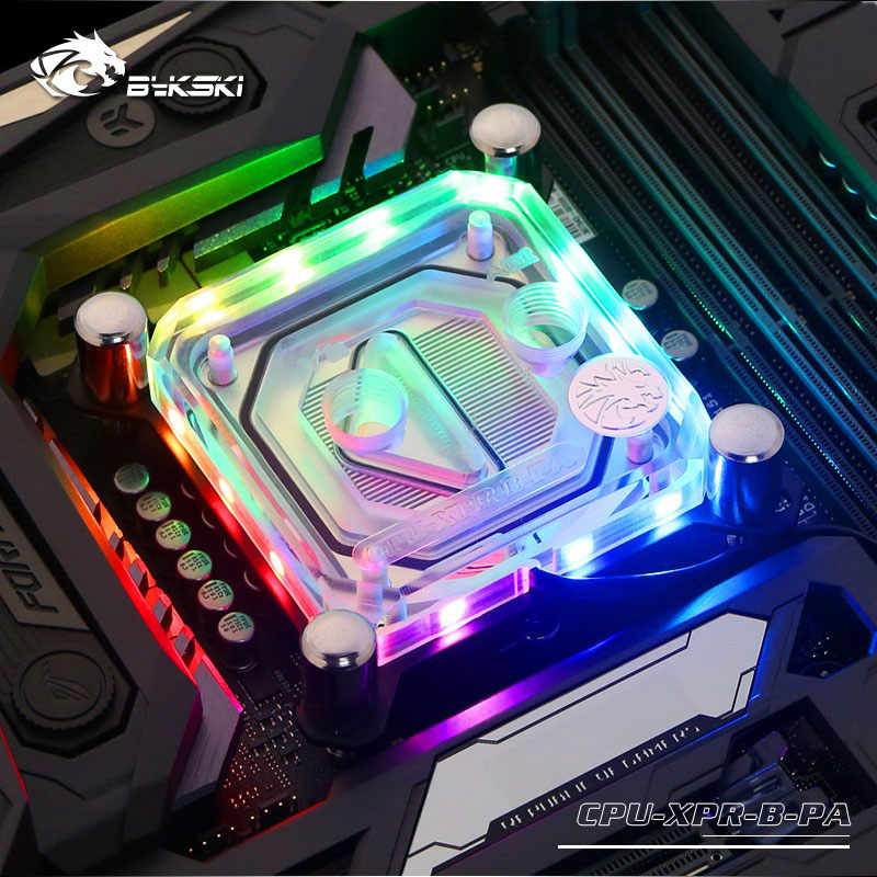 Bykski CPU Water Block Use For INTEL LGA1150 1151 1155 1156 2011 X99 Transparent RGB Support 5V 3PIN GND Header To Motherboard