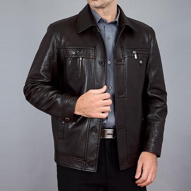 Nuevos hombres de la llegada ocasional da vuelta-abajo de la alta calidad de imitación de cuero chaqueta de cuero de los hombres abrigo de primavera y otoño envío gratis