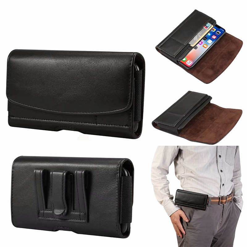 Universal Cell Phone Holster Case For Moto G7 G6 G5 G5S E5 G4 Plus Z Play Force G3 E3 M Premium Leather Pouch With Belt Clip(China)