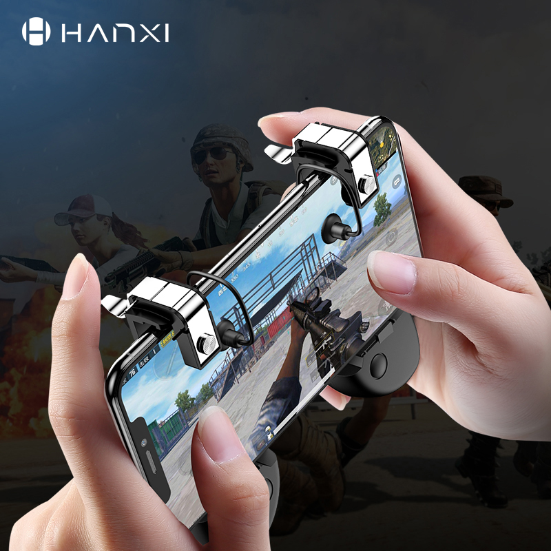Hanxi PUBG Mobile Phone Game Keypads Trigger Aim Button L1R1 Shooter Joystick For IPhone Android Universal