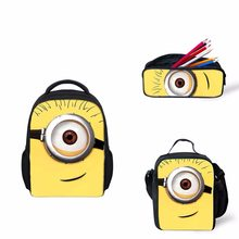 Minion Rush Cartoon Printed Pencil Case Backpack School Bag Lun box Surprise For Kid Children Despicable ME2(China)