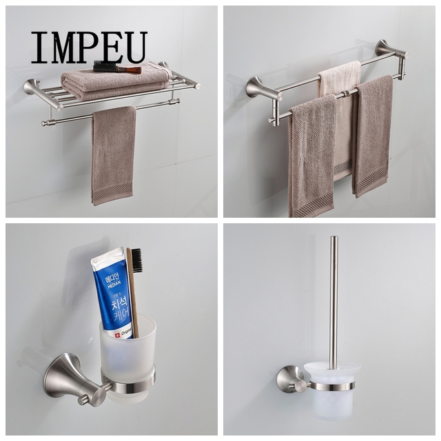 Bathroom Hardware Sets Nickel.Impeu Stainless Steel Nickel Brushed Bathroom Accessories Wall Mount