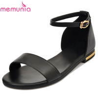 MEMUNIA SIZE 34 43 NEW High Quality Women Sandals Flat Summer Female Casual Shoes Genuine Leather