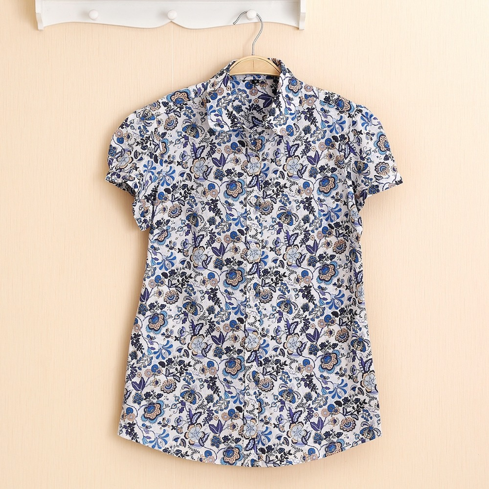 Dioufond Summer Short Sleeve Beach Shirt Kvinner Blomster Bluser Print Ladies Topper Plus Size Blusas Women Clothes Fashion Shirt