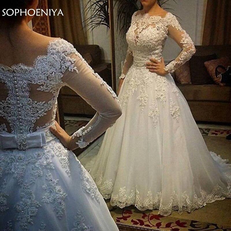 Vestido de noiva Long Sleeves Wedding Dresses 2019 Sexy Back Bride Dresses Wedding Gown Princess Casamento Robe de Mariage