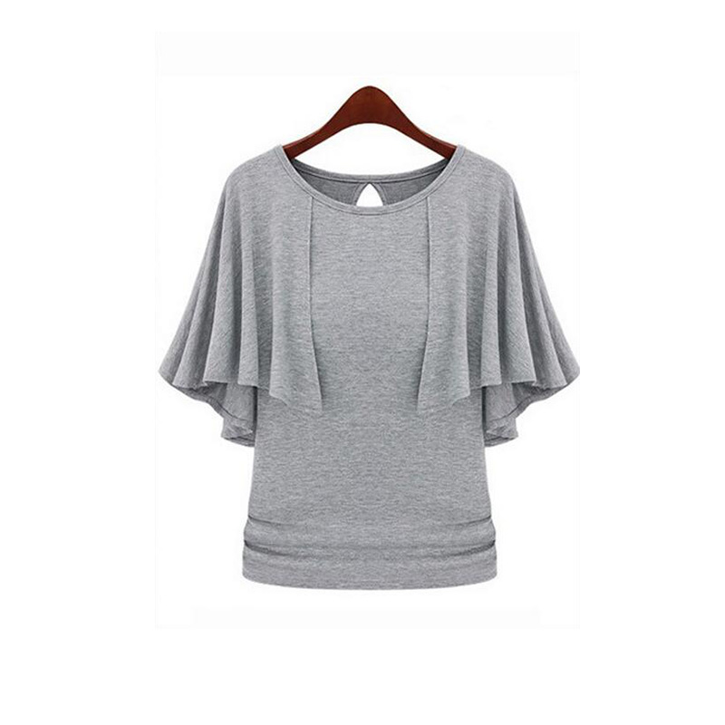 M-4XL 5XL Plus Big size Cotton Cloak Batwing Sleeve Was Thin Knit Shirt Blouse O-Neck Short Sleeve blusas y camisas mujer BH695