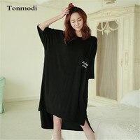 Fashion Sleep Dress Women Modal Nightgown Women Lounge Cotton Sleepwear At Home Wear Unequal Nightgowns