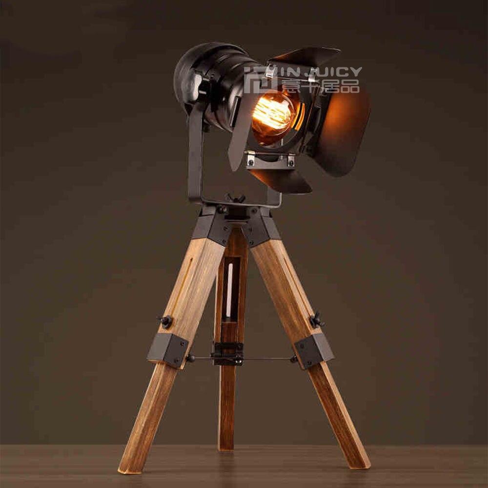 뜨거운 판매 빈티지 산업 로프트 철 레트로 카메라 모델링 침실 삼각대 테이블 책상 램프 liftable 빛 카페 공부 방