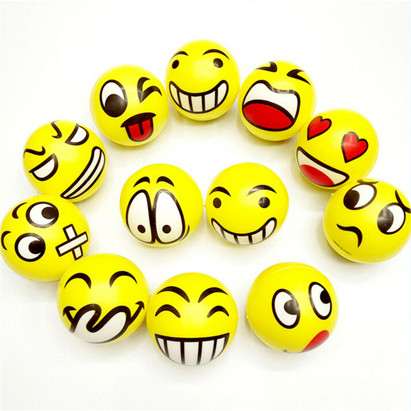 75mm Children's Smile Face Grip Relieving Stress Ball Gifts PU Foam Squeeze Toys Ball
