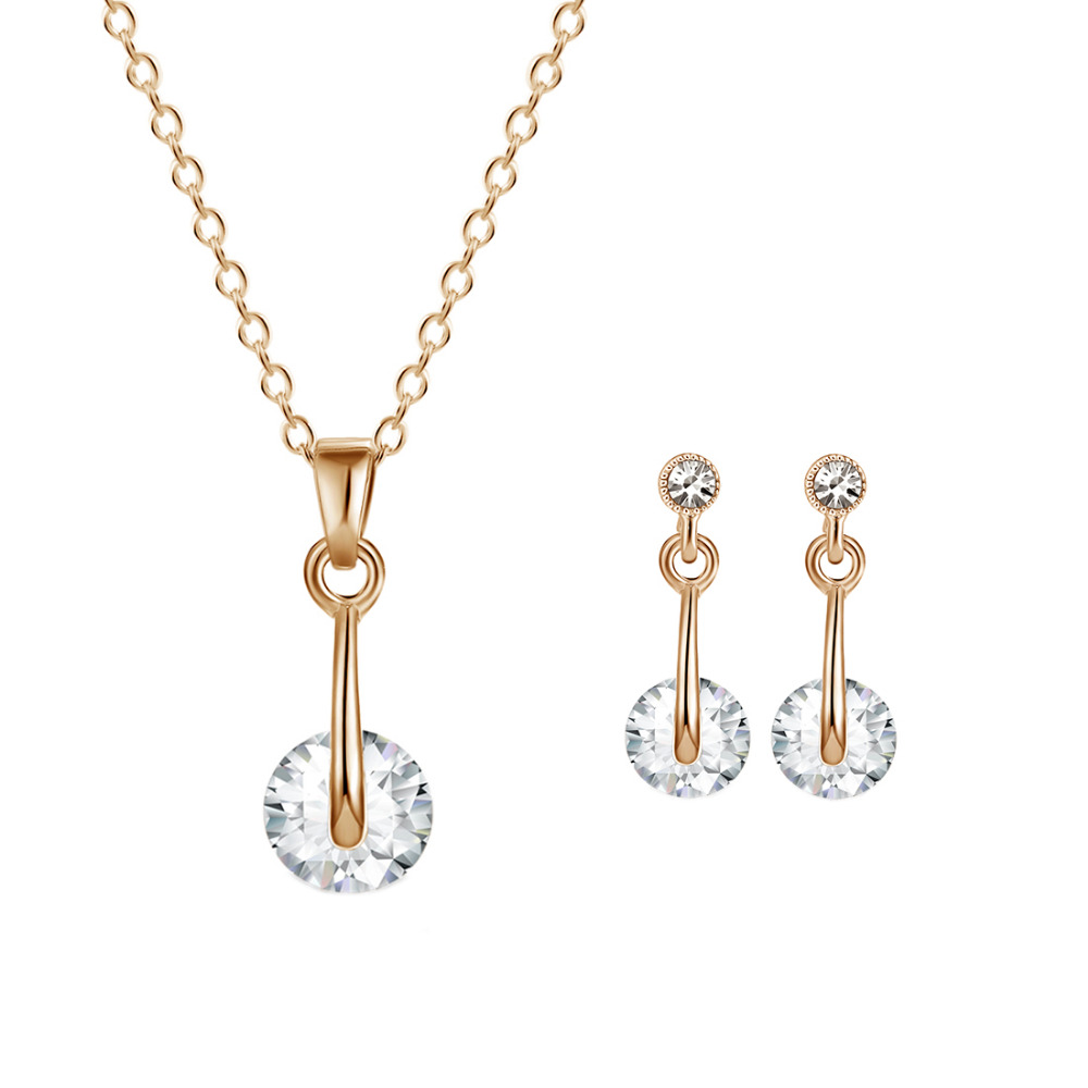 ZOSHI Gold Color Jewelry Sets Round Cleas