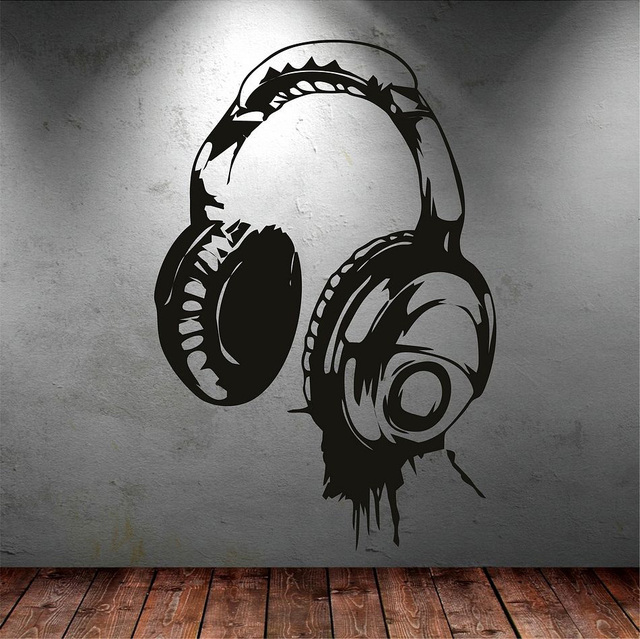 headphones music dj wall stickers art design wall decal available in different colors wallpaper. Black Bedroom Furniture Sets. Home Design Ideas