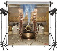 LB 8x8FT Palace Modern Hall Diamond pattern lamppost Seamless Washable No Folds Polyester Backdrop Background Photography Studio