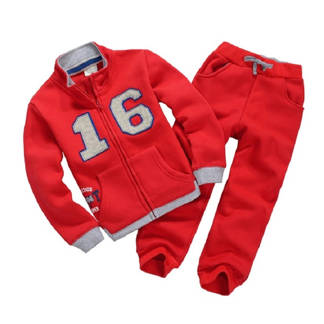 Red Number 16 Children Clothes Suits Winter Thick Boys Sport Suits 2-7years Toddler Tracksuits Jacket Pant Set Baby Boy Clothes