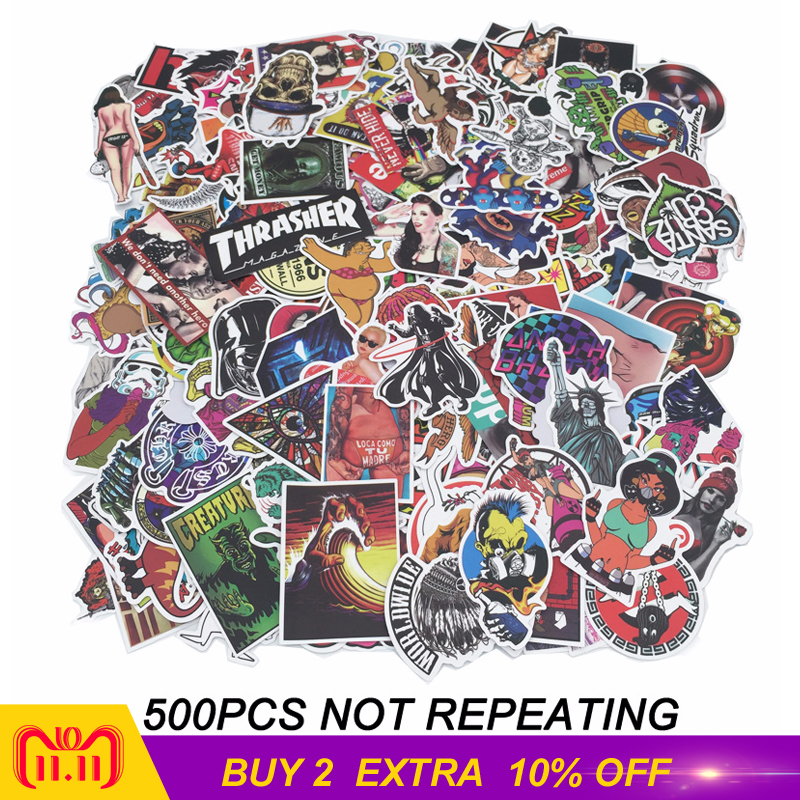 500 pcs/pack Classic Fashion Style Graffiti Stickers For Moto car & suitcase cool laptop stickers Skateboard sticker цена