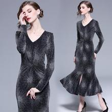 RUVOE New Glitter long dress Women long sleeve bodycon dresses Sexy party dress nightclub wear Glittering black vestidos autumn недорого