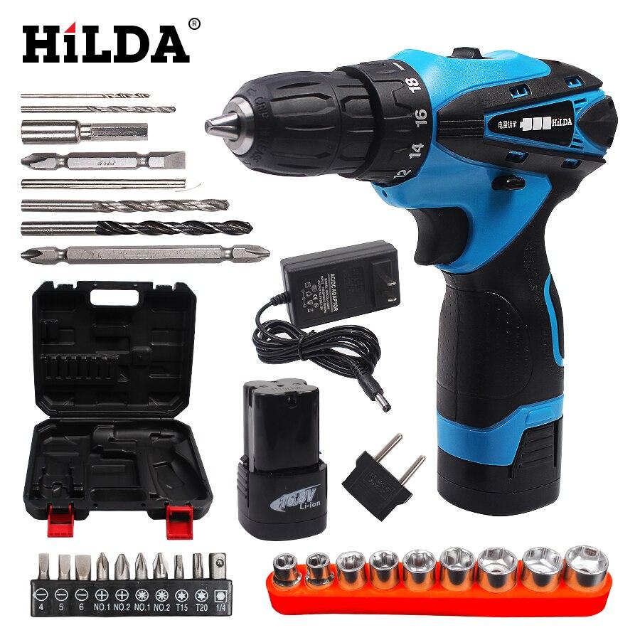 купить HILDA 16.8V Double Speed Cordless screwdriver Lithium Battery Power Tools Waterproof Electric Screwdriver With Plastic Case недорого