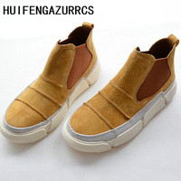 HUIFENGAZURRCS Hot,2019 Spring new Korean version of high genuine leather leisure shoes, women's sports flat bottom shoes