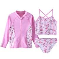 BAOHULU Bikini Children's Swimwear Cartoon Sun Protection Swimsuits UV Swimwear Kids 3pcs Swimming Suits Girls Bathing Suit Pink