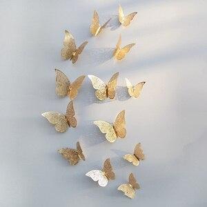 Image 2 - 12 sztuk/zestaw 3D naklejki ścienne motyl wytłaczany papier naklejki motyle na ślub urodziny domu pokój diy deco Baby Shower Supplie
