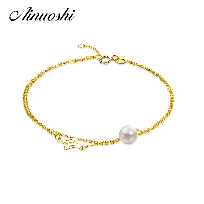 AINUOSHI 18K Yellow Gold Natural Cultured Freshwater Pearl Chain Bracelet Women Brace lace Pe Length 16.5cm Pearl Size 6 6.5mm