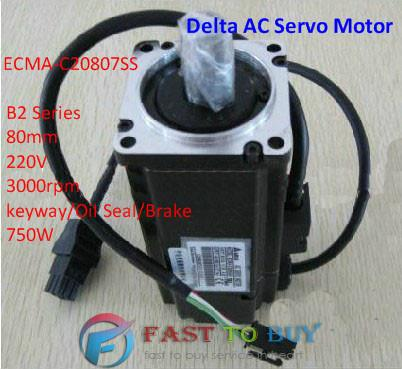 ECMA-C20807SS Delta AC Servo Motor 220V 750W 2.39NM 3000rpm with Keyway Oil Seal brake New