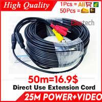 Venta al por mayor 50 m Video + power cod HD cobre Cámara extender cables para CCTV DVR AHD extensión con BNC + Cable de dos pulgadas DC 2in1