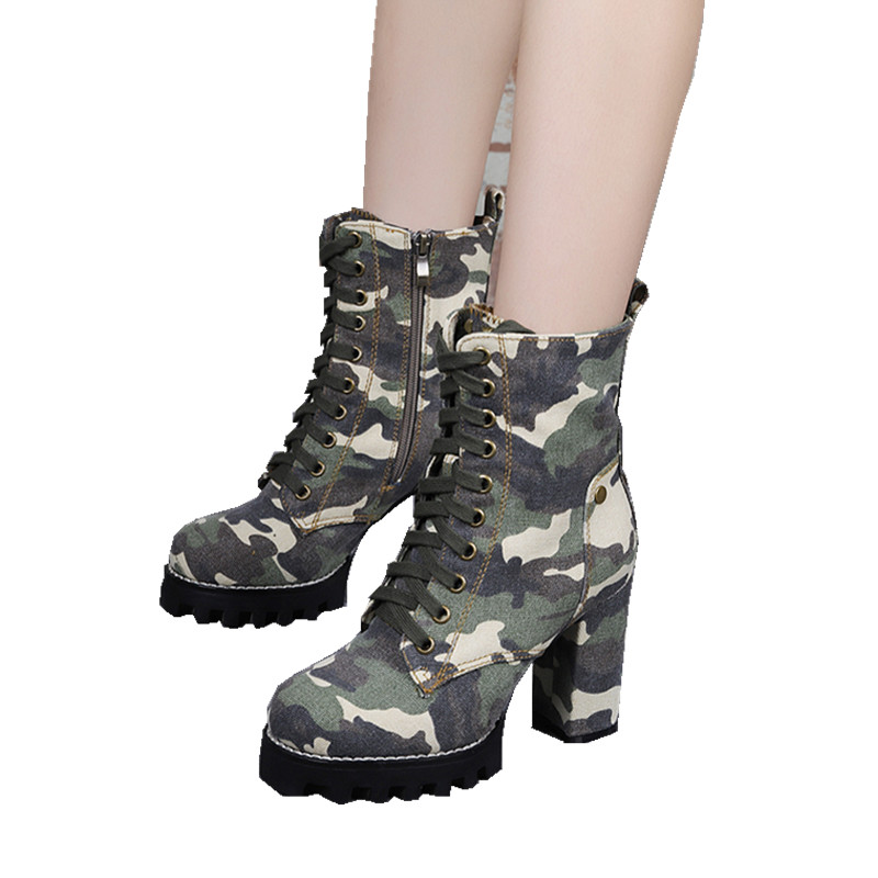 lowest price 04e73 8de65 US $72.8 30% OFF|Army Green Camouflage Women Platform Ankle Boots Lace Up  High Heels Rubber Botas Feminino Ladies Shoes Cowgirl Bottine Femme-in  Ankle ...