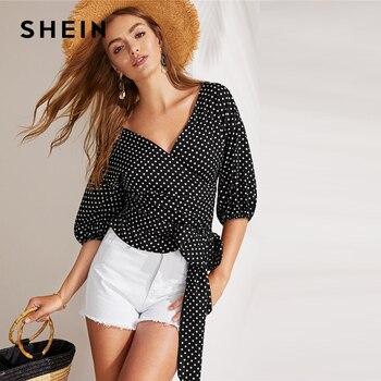 7935ecfe2 SHEIN negro Boho nudo lado Surplice envoltura Polka Dot Top blusa de las  mujeres de la primavera de 2019 V cuello obispo manga blusas