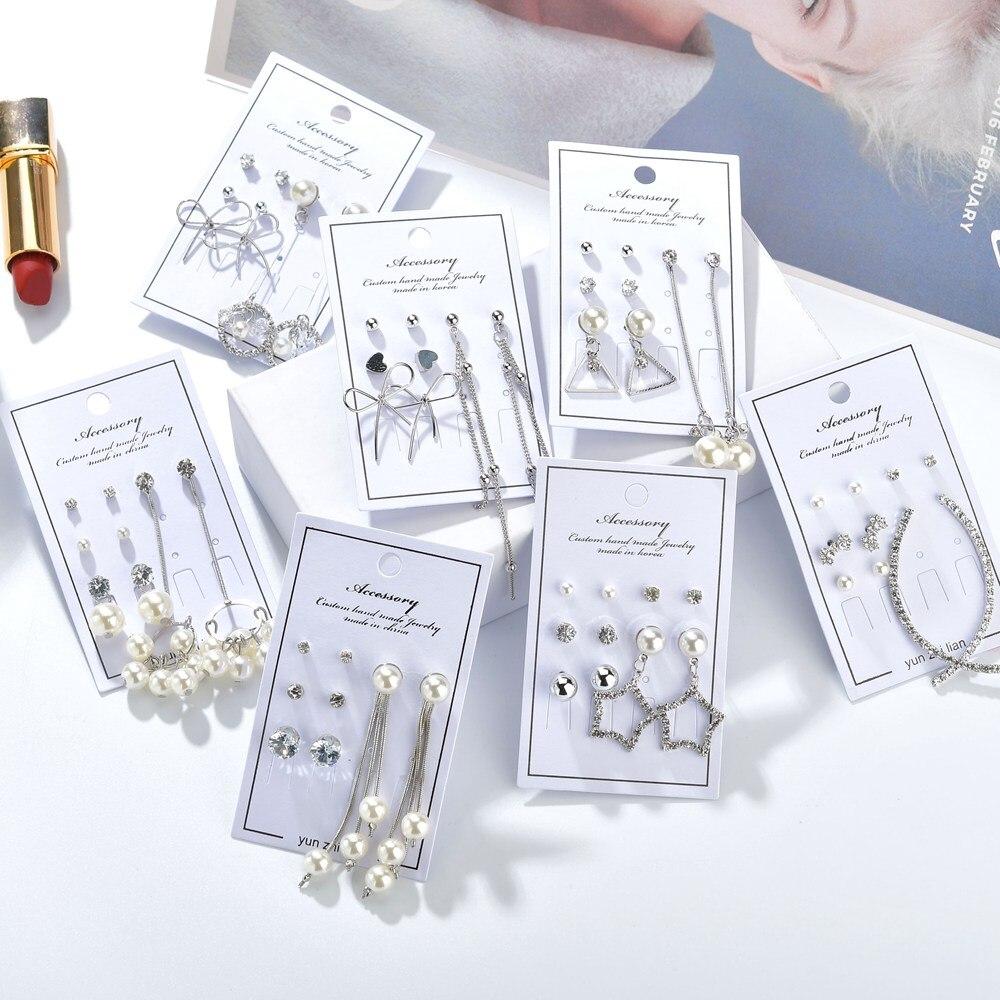 MissCyCy Mix Style Leaves Bow Heart Stud Earrings for Women 2019 New Rhinestone Imitation Pearl Long Earrings Korea Jewelry