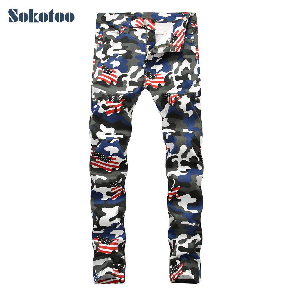 Sokotoo Men's camouflage American flag printed jeans Fashion slim fit colored painted denim pants