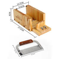 Hardwood Handle Stainless Steel Crinkle Cutter And Adiustable Wooden Soap Cutter Rack Mold Sets