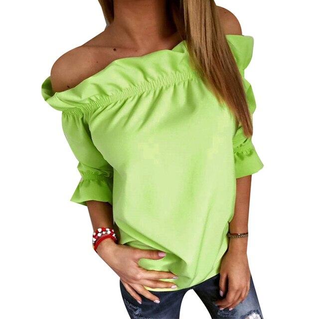 7e50941a9ecf7 Fashion Women Blouse Puff Sleeve Slash Neck Soild Shirt Strapless Off  Shoulder Top Ruffle Feminine Blouses Ladies Women Clothing